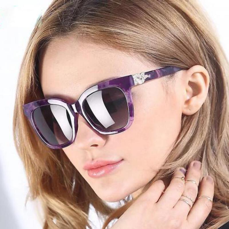 MKTT 0155 Gọng mắt kính mát thời trang nữ tím đính hạt