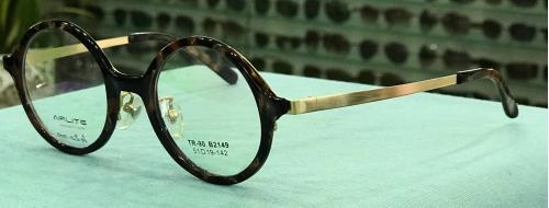 MKC 0204 Gọng mắt kính cận nhựa tròn càng kim loại màu nâu đồi mồi